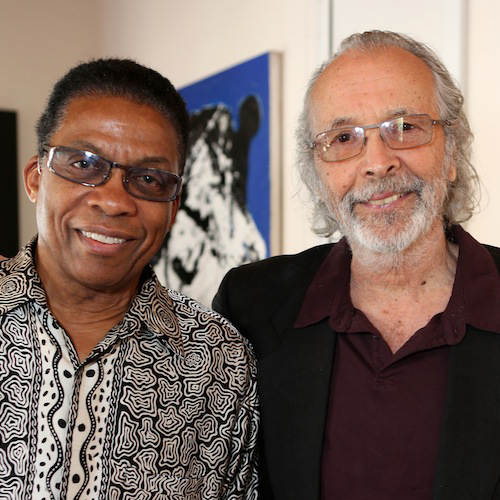 Herbie Hancock and Herb Alpert at the Herb Alpert Foundation May 10, 2013 (photo by Steve Gunther)