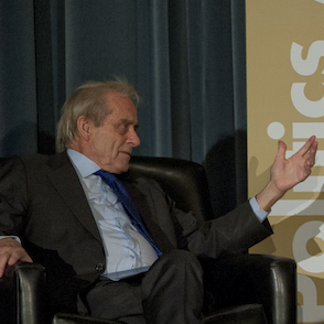 "Sir Harold Evans asks Admiral Dennis Blair a question during the ""Threats and Oppertunities"" discussion Thursday, Nov. 15, 2012 at the RAND Politics Aside event in Culver City (Picture and caption courtesy of RAND.org)"