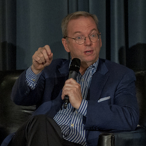 "Eric Schmidt makes a point while dicussing ""The New Digital Age"" Thursday, Nov. 15, 2012 at the RAND Politics Aside evenet in Culver City (Picture and caption courtesy of RAND.org)"